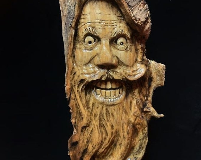 SALE New Year Wood Carving, Wood Spirit Carving, Wood Wall Art, Hand Carved Wood Art, by Josh Carte, Made in Ohio, Carving of a Face