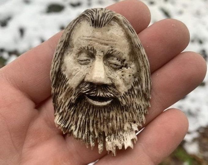 20% Off Sale Bone Pendant, Antler Art, Elk Antler Carving, Bone Necklace, Carving of a Face, by Josh Carte, Hand Carved Bone Art, Made in Oh