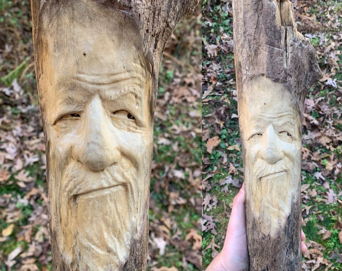 Driftwood Carving, Wood Spirit Carving, Wood Carving, Carving of a Face, Wood Wall Art, by Josh Carte, Handmade Woodworking, Driftwood Art