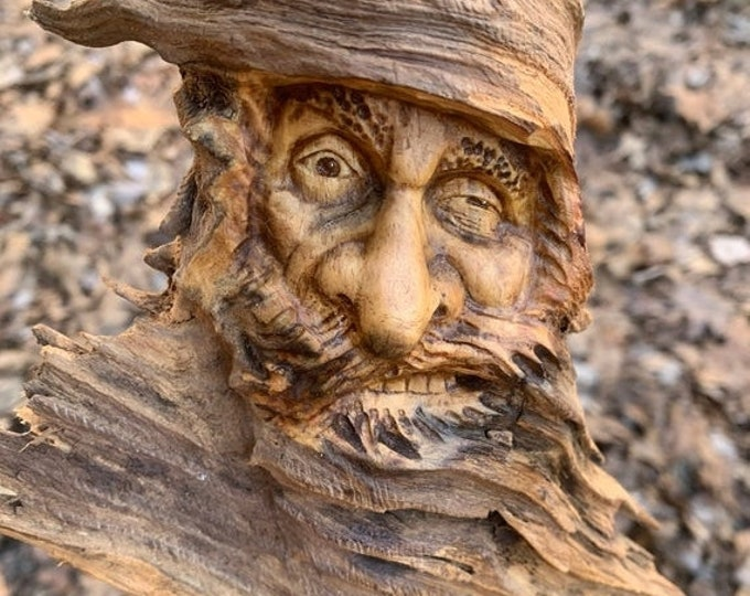 20% Off Sale Wood Spirit Carving, Carving of a Face, Wood Carving, Hand Carved Wood Art, Wood Wall Art, by Josh Carte, Old Man with Beard