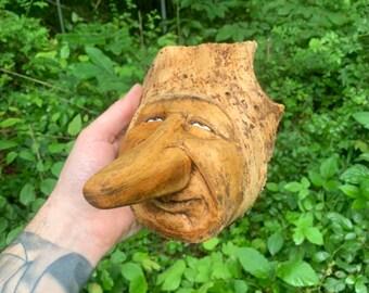 Wood Carving, Big Nose, Wood Spirit Carving, Wood Wall Art, Hand Carved Wood Art, by Josh Carte, Whimsical Art, Handmade Woodworking, OOAK