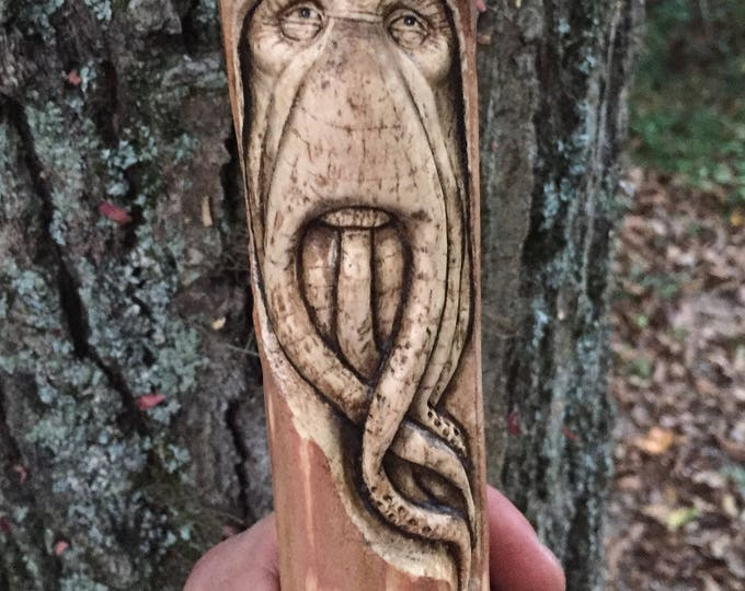 SALE, Walking Stick, Davy Jones, Wood Carving, Handmade Woodworking by Josh Carte, Wood Sculpture, Pirates of the Caribbean, cane, Staff, Hi