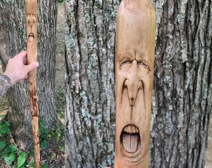 25% Off Sale Wood Carving, Walking Stick, Hand Carved Wood Art, Carving of a Face, Wooden Cane, Hiking Stick, By Josh Carte, Wood Spirit Car