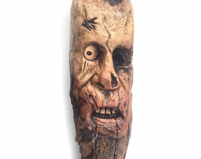 Zombie, Wood Carving, Wood Art, by Josh Carte, Made in Ohio, Wood Sculpture, Chainsaw Carving, Hand Carved Wood Art, Creepy, Spooky