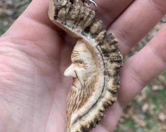 Halloween SALE Elk Antler Pendant, Bone Pendant, Hans Carved Bone Art, Bone Carving, Carving of a Face, by Josh Carte, Made in Ohio