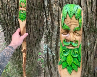 Green Man Walking Stick, Green Man Wood Carving, by Josh Carte, Wood Carving, Carved Walking Stick, Hiking Stick, Hand Carved Wood Art