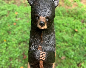 Bear Walking Stick, Wood Carving, Hiking Stick, Wood Cane, Bear Carving, Chainsaw Carving, Hand Carved Wood Art, by Josh Carte, Made in Ohio