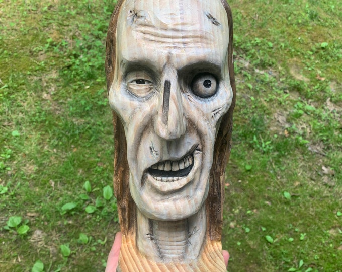 Zombie Wood Carving, The Walking Dead, Wooden Bust, Carving of a Face, Hand Carved Wood Art, by Josh Carte, Macabre Art