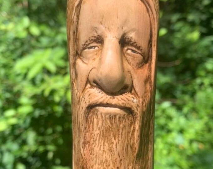 Walking Stick, Wood Carving, Wood Spirit Carving, Hand Carved Walking Stick, Hiking Stick, by Josh Carte, Wooden Cane, Made in Ohio, Faces