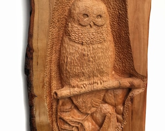 SALE, Owl Wood Carving, Hand Carved Bird, Owl Wood Sculpture, Perfect Birthday Gift, Gift for Owl Lovers,
