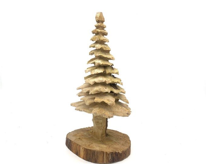 Christmas Tree, Chainsaw Carving, Hand carved Wood Art, Wood Carving Of A Tree, By Josh Carte, Made In Ohio