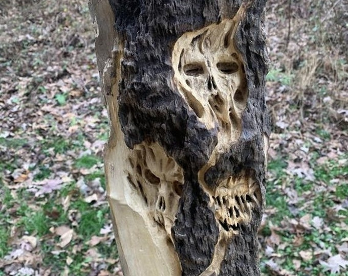 SALE New Year Driftwood Carving, Skulls, Macabre Art, Dark Art, Wood Carving, Hand Carved Wood Art, by Josh Carte, Wood Wall Art, Skull Carv