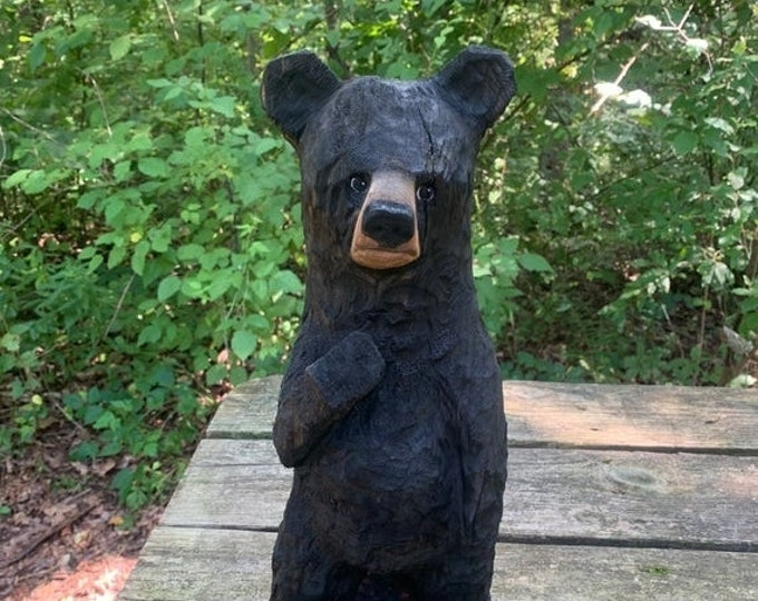 25% Off Sale Bear Chainsaw Carving, Carved Wooden Bear, by Josh Carte, Wood Carving of a Bear, Handmade Woodworking, Made in Ohio
