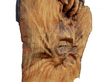 Halloween SALE Fine Art Wood Sculpture, A Perfect Wood Carving Gift, OOAK Hand Carved Woodworking by Josh Carte, Wood Gift for Him or Her, A