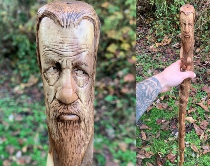SALE New Year Walking Stick, Wood Carving, Hiking Stick, Wooden Stick, by Josh Carte, Wood Spirit Carving, Made in Ohio, Hand Carved Wood Ar