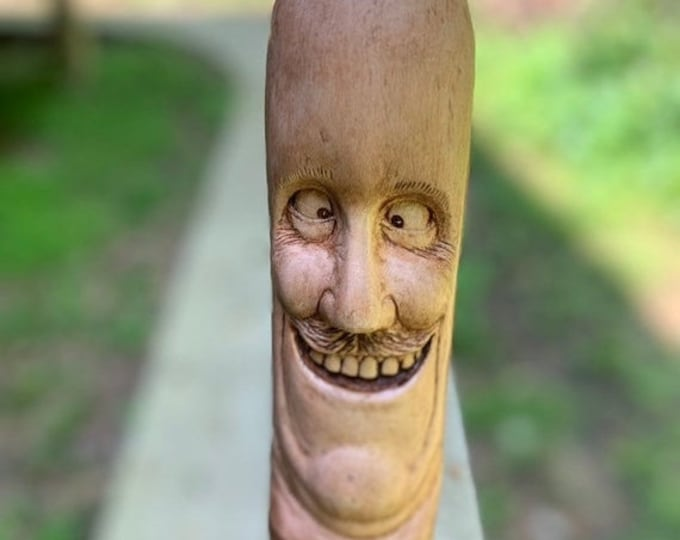 SUMMER SALE Walking Stick, Wood Carving, Hand Carved Wood Art, by Josh Carte, Made in Ohio, Funny Face, Carving of a Face, Unique Sculpture,