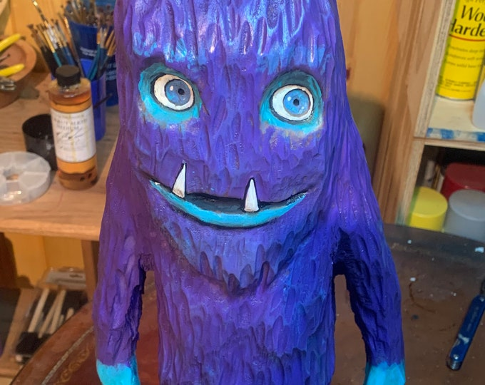 Monster Wood Carving, Chainsaw Carving, Purple People Eater, Hand Carved Wood Art, by Josh Carte, Purple Monster Carving, Cute Carving