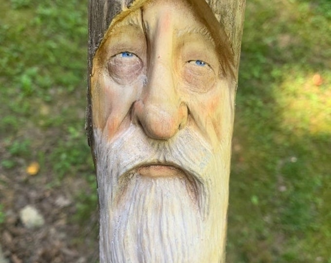 25% Off Sale Wizard Wood Carving, Driftwood Art, Hand Carved Wood Art, Wood Wall Art, Wood Spirit Carving, by Josh Carte, Made in Ohio