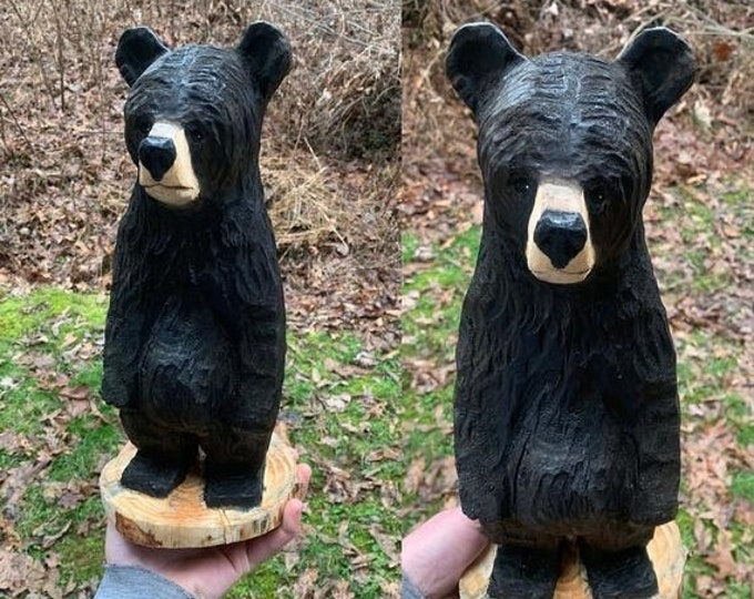 20% Off Sale Bear Chainsaw Carving, Wooden Bear, Bear Carving, Wood Carving by Josh Carte, Black Bear Carving, Hand Carved Wood Art