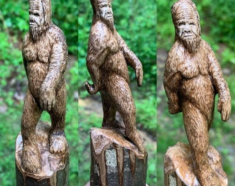 Bigfoot Walking Stick, Sasquatch Wood Carving, Bigfoot Cane, by Josh Carte, Hand Carved Wood Art, Made in Ohio, Wood Art