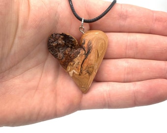 Wooden Heart Pendant, Hand Carved Wood Art, Hand Carved Heart Necklace, by Josh Carte, Carving of a Heart, Valentines Day Heart