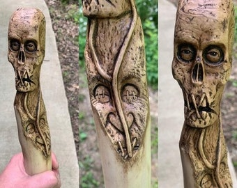 Halloween SALE Walking Stick, Macabre Art, Wood Carving, Skull Carving, Dark Art, by Josh Carte, Handmade Woodworking, Hand Carved Wood Art