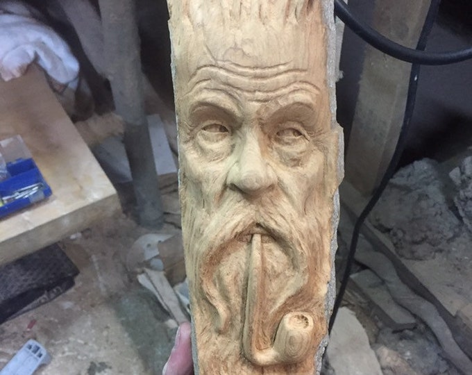 Wood Carving, Pipe Smoker, Chainsaw Carving, Wood Spirit Carving, Made in Ohio, by Josh Carte, Hand Carved Wood