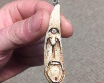 Pendant, Cyclops, Made in Ohio, by Josh Carte, Bone Art, Antler Carving Cast, Pendant Necklace, Sculpture