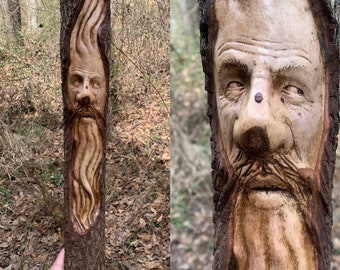 Wood Spirit Carving, Wood Wall Art, Carving of a Face, by Josh Carte, Hand Carved Wood Art, Unique Wood Art, Old Man with Beard, Handmade