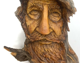 Wood Spirit Carving, Hand Carved Wood Art, Wood Wall Art, by Josh Carte, Carving of a Face, Handmade Woodworking, Made in Ohio