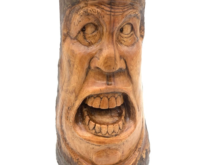 Wood Carving, Wood Spirit Carving, Hand Carved Wood Art, Wood Wall Art, by Josh Carte, Unique Wood Art, Handmade Woodworking