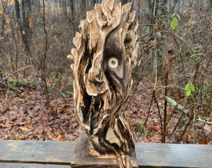 SALE New Year Wood Carving, Chainsaw Carving, Unique Wood Sculpture, Hand Carved Wood Art, by Josh Carte, Amazing Sculpture, Handmade Woodwo