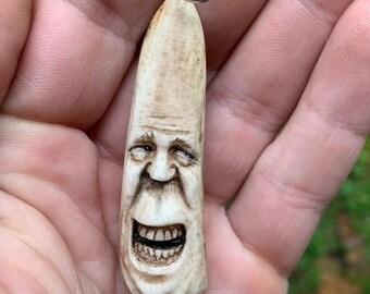 Halloween SALE Bone Pendant, Antler Carving of a Face, Bone Necklace, Hand Carved Bone Art, by Josh Carte, Deer Antler Pendant, Bone Charm,