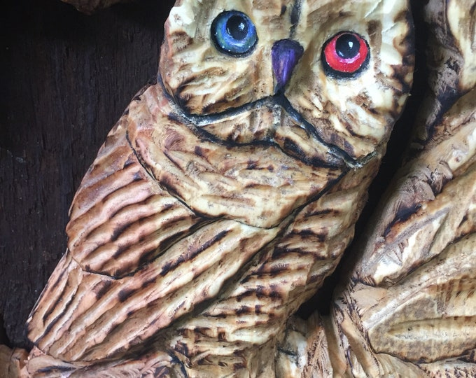 Owl Wood Carving, Rustic Decor, Wood Gift, Home Decor Sculpture, Birthday Gift, Unique Wood Art, Gift for Him, Hand Carved by Josh Carte