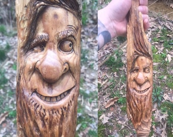 Wood Carving, Wood Spirit Carving, Carving of a Face, Chainsaw Carving, made in Ohio, by Josh Carte, Handmade Woodworking, Hand Carved Wood