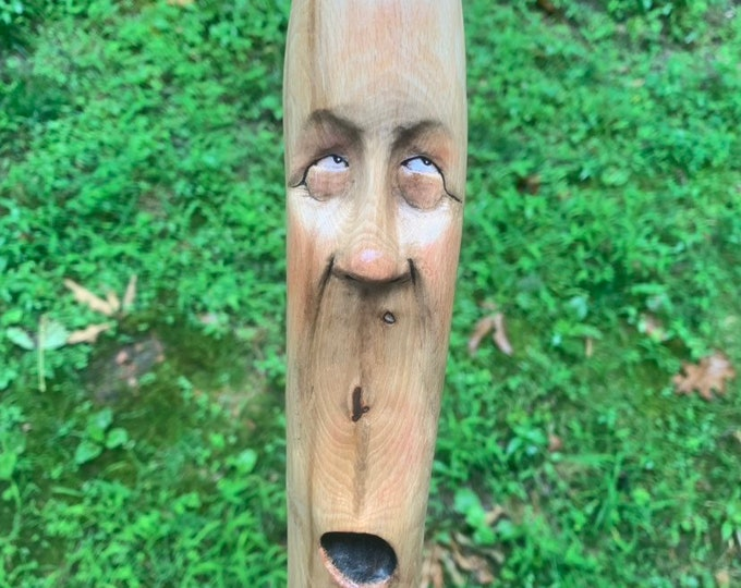 Walking Stick, Wood Carving, Carving of a Face, Wood Spirit Carving, by Josh Carte, Hand Carved Wood Art, Original Art Sculpture