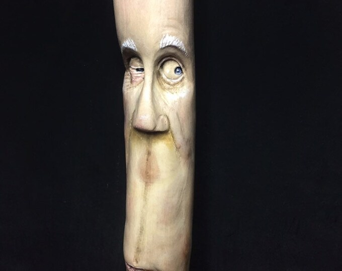 Walking Stick, Wood Carving, Hand Carved Wood Art, Made in Ohio, by Josh Carte, Wood Spirit Carving, Unique Sculpture, Hiking Stick, Cane