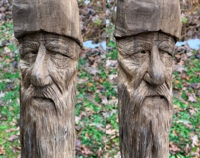 SALE New Year Wood Carving, Driftwood Art, Wood Wall Art, Wood Spirit Carving, Handmade Woodworking, by Josh Carte, Carving of a Face, Uniqu