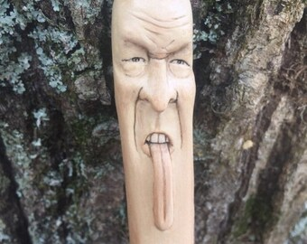 SUMMER SALE Walking Stick, Wooden Walking Stick, Hiking Stick with Carving, Made in Ohio, Face Carving, Wood Spirit Carving, Hand Carved Art