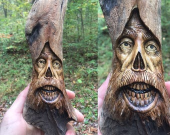 Wood Carving, Halloween, Wood Spirit, Handmade Woodworking, Wall Art by Josh Carte, Creepy, Skulls, Beard, Log Home Decor, Made in Ohio, Art