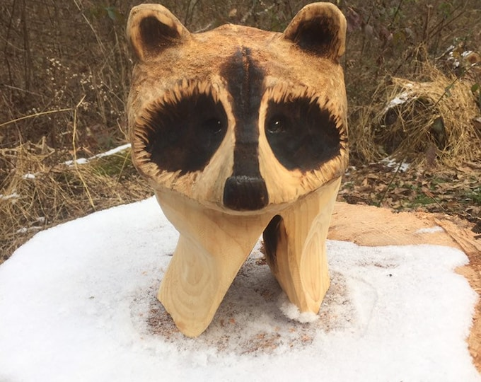 Raccoon, Wood Carving, Chainsaw Carving, Made in Ohio, by Josh Carte, Hand Carved Wood Art, Unique Artist Sculpture