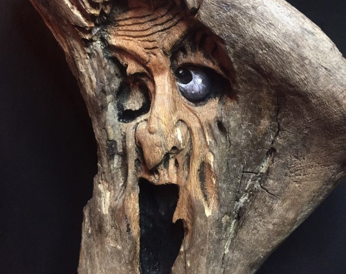 Wood Carving, Dark Art, Made in Ohio, Wooden Sculpture, by Josh Carte, Hand Carved Wood Art, OOAK Woodworking