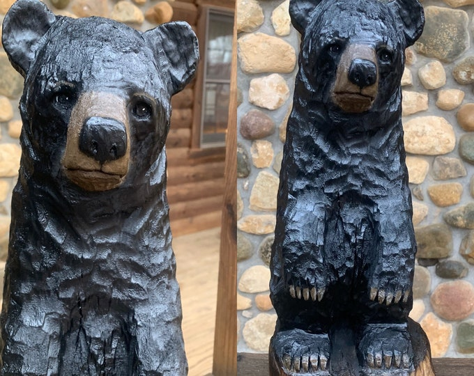 Bear Chainsaw Carving, Wooden Bear, Hand Carved Wood Bear, Black Bear Carving, by Josh Carte, Log Home Decor, OOAK, Bear Wood Sculpture