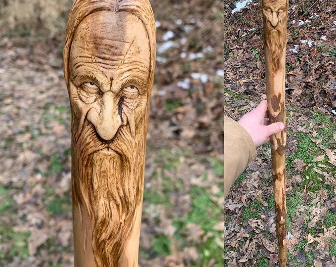Wood Walking Stick, Carved Walked Stick, Wood Carving, Hiking Stick Carving, by Josh Carte, Hand Carved Hiking Stick, Unique Wood Art