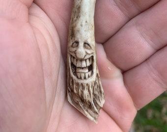 Bone Pendant, Antler Carving, Antler Necklace, Bone Necklace, Carving of a Face, by Josh Carte, Hand Carved Antler Art