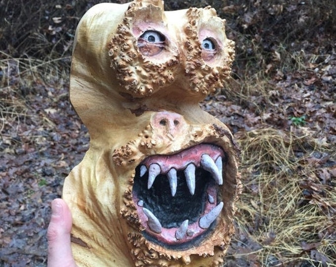 SALE New Year Wood Carving, Creature, Handmade Woodworking, Sculpture by Josh Carte, Unique Wood Art, Carved Home Decor, Maple Burl Carving,
