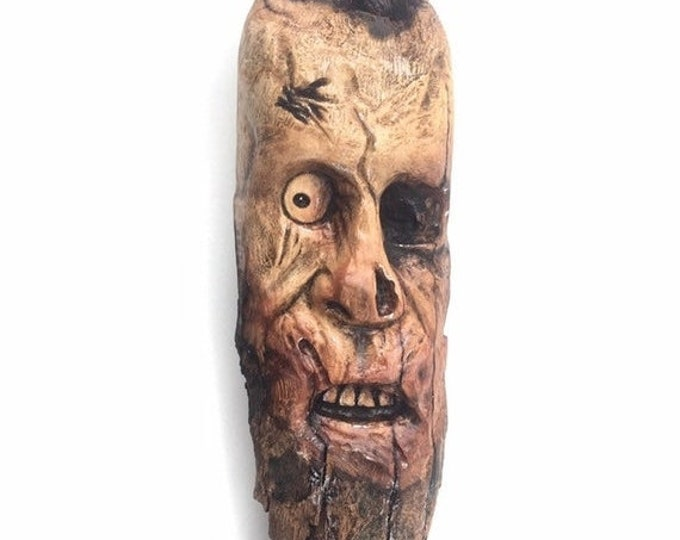 SUMMER SALE Zombie, Wood Carving, Wood Art, by Josh Carte, Made in Ohio, Wood Sculpture, Chainsaw Carving, Hand Carved Wood Art, Creepy, Spo