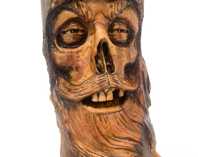 Wood Carving, Skull Carving, Skull Art, Hand Carved Wood Art, Macabre Art, by Josh Carte, Wood Wall Art, Made in Ohio, Original Art