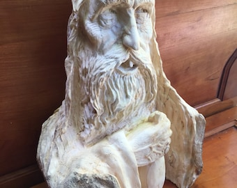 Wood Carving, Wood Spirit Carving, Hand Carved Wood Art, Amazing Birthday Gift, Chainsaw Carving, Log Home Decor