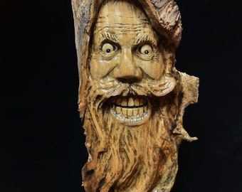 Halloween SALE Wood Carving, Wood Spirit Carving, Wood Wall Art, Hand Carved Wood Art, by Josh Carte, Made in Ohio, Carving of a Face